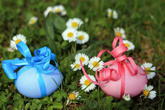 Easter egg hunt in the garden Royalty Free Stock Images