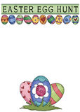 Easter Egg Hunt Greeting Card. Designed with colorful eggs and ready for you to add your egg hunt information stock illustration
