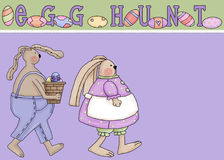 Easter Egg Hunt Greeting Card. This whimiscal greeting card is designed with two easter bunnies, one male and one female, walking along. The card is topped with vector illustration