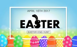 Easter egg hunt. Holiday banner with eggs. Easter egg hunt vector illustration. Colorful holiday banner design with eggs royalty free illustration