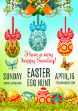 Easter Egg Hunt and Holy Sunday poster template Stock Photos
