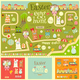 Easter egg hunt. Easter Invitation Card and Easter Elements. Easter Egg Hunt. Vector Illustration royalty free illustration
