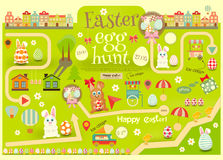 Easter egg hunt. Easter Invitation Card. Easter Egg Hunt. Vector Illustration royalty free illustration