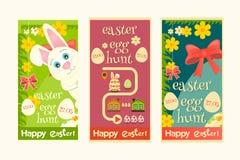 Easter egg hunt. Easter Invitation Cards set. Mini Poster Easter Egg Hunt. Vector Illustration Stock Images