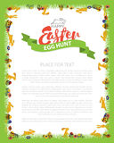 Easter Egg Hunt Invitation Flyer Design with Bunny, Egg on Green grass. Lettering Inscription Easter. Vector