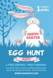 Easter Egg Hunt Flyer Template. Easter Egg Hunt invitation or flyer design with cheerful bunny which hold egg on blue background with spring landscape. Vector vector illustration