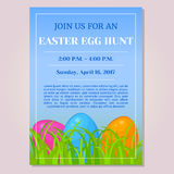 Easter Egg Hunt invitation, flyer, poster or placard template with different eggs in grass in cartoon style. Vector. Easter Egg Hunt invitation, flyer, poster or Royalty Free Stock Photos