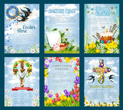 Easter Egg Hunt invitation flyer template set. Easter poster template set. Egg Hunt invitation flyer of Easter egg with rabbit bunny, spring flower cross and Stock Photography