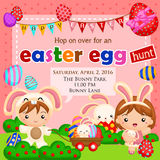 Easter egg hunt invitation. For kids royalty free illustration