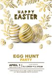Easter egg hunt party vector poster design template. Concept for banner, flyer, invitation, greeting card, backgrounds. Easter egg hunt party vector poster Royalty Free Stock Photo