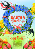 Easter Egg Hunt poster with egg and flower wreath. Easter greetings and Egg Hunt celebration poster. Easter patterned egg in green grass with tulip flowers and Stock Photography