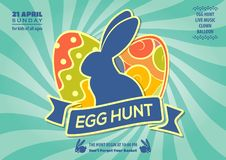 Easter Egg Hunt poster or invitation design with eggs and cute bunny. Vector illustration.  royalty free illustration