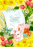 Easter and Egg Hunt poster with rabbit, egg, cake. Easter holiday and Egg Hunt poster. Easter rabbit bunny, decorated egg and cake, surrounded by spring flowers Royalty Free Stock Photos