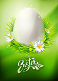 Easter Egg Hunt poster. Realistic Egg Hunt poster with typography Hello Easter. Vector illustration. Greeting banner with calligraphy, green grass and flowers Royalty Free Stock Photography