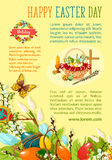 Easter Egg Hunt poster template for holiday design. Easter Egg Hunt poster template. Decorated easter eggs with spring flowers in wicker basket with cross Royalty Free Stock Photography