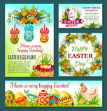 Easter Egg Hunt rabbit cartoon banner template. Easter eggs in green grass with bunny, chicken, egg hunt basket and chick, spring flower wreath of lily and Royalty Free Stock Images