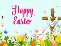 Easter egg hunt rabbit with cross greeting poster Royalty Free Stock Photography
