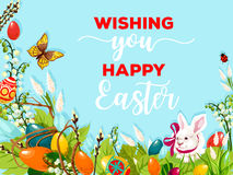 Easter egg hunt rabbit on flower meadow poster Royalty Free Stock Photos