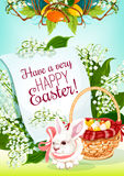 Easter Egg Hunt rabbit greeting card design. Easter Egg Hunt rabbit greeting card. Easter bunny with egg hunt basket and floral wreath of lily flowers and green Royalty Free Stock Photo