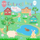 Easter egg hunt. Sheep, rabbits, hiding behind Easter eggs, chicks and ducklings in a small town in the countryside Royalty Free Stock Images
