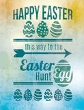 Easter egg hunt sign. Fun and grungy Easter Egg hunt sign stock illustration