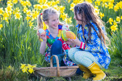 Easter Egg Hunt Teamwork Royalty Free Stock Images