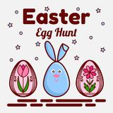 Easter egg hunt theme. A flat icon of a cute rabbit and two painted eggs with flowers. Can be used as a greeting card stock images