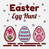 Easter egg hunt theme. Flat icons of three colored eggs. Can be used as a greeting card, invitation, banner. Vector Royalty Free Stock Photography