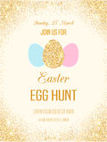 Easter egg hunt vector flyer with golden glitter Stock Image