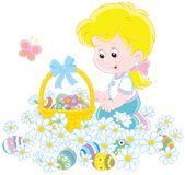 Easter egg hunt. Vector illustration of a little girl with a decorated basket collecting colorfully painted eggs among white daisies Stock Image