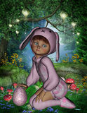Easter egg hunting little girl in pink bunny suit. A 3D rendered Digital image of a little girl in a pink bunny suit with easter egg in the woods. Ideal for your stock illustration