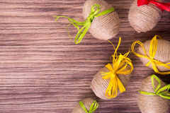 Free Easter Egg In Twine Near Wooden Background. Copy Space. Frame. Top View. Rustic Style. Stock Photos - 86156933