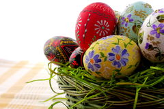 Easter Egg In Wicker Basket Royalty Free Stock Photo