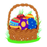 Easter Egg inside the Basket Stock Photo