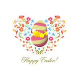 Easter egg inside heart florals Stock Image