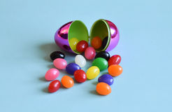 Easter egg and jelly beans Stock Photos