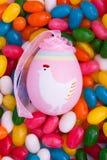 Easter egg on jellybeans. Easter egg sitting on Easter jellybeans Royalty Free Stock Photography
