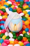 Easter egg on jellybeans. Easter egg sitting on Easter jellybeans Stock Photography