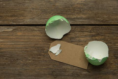 Easter egg with lable inside Stock Photos