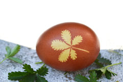 Easter egg with leaf pattern Royalty Free Stock Photo