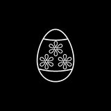 Easter egg line icon, religion holiday elements,. Egg with flowers, a linear pattern on a black background, eps 10 stock illustration