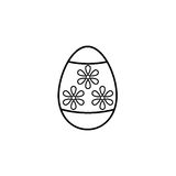 Easter egg line icon, religion holiday elements,. Egg with flowers, a linear pattern on a white background, eps 10 vector illustration