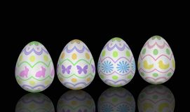 Easter Egg Lineup on Black Stock Image