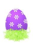 Easter Egg in little bird nest isolated on white Stock Photography