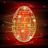 Circuit board egg red Stock Photos