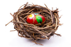 Easter egg in nest Royalty Free Stock Photography