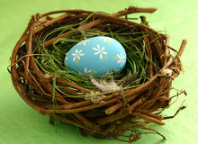Easter Egg in Nest. A special little egg in a bird's nest. Nice conceptual image for Easter, spring, rejuvenation, home decorating or redecorating, rejuvenation stock photos