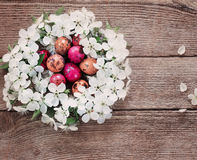 Easter egg in nest from  flowers Royalty Free Stock Photo