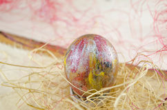 Easter egg in a nest Stock Photo