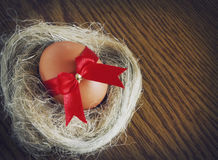 Easter egg in a nest Stock Image
